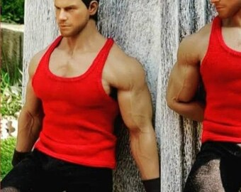 1/ 6th scale red XXL tank top vest for Phicen / TBLeague M34 M35 and Hot Toys TTM 20 size bigger action figures and male fashion dolls