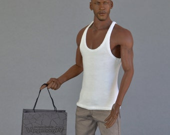 Longer 1/ 6th scale XXL white tank top vest singlet for TBLeague M36A M36B (and other basketball player size) collectible poseable figures