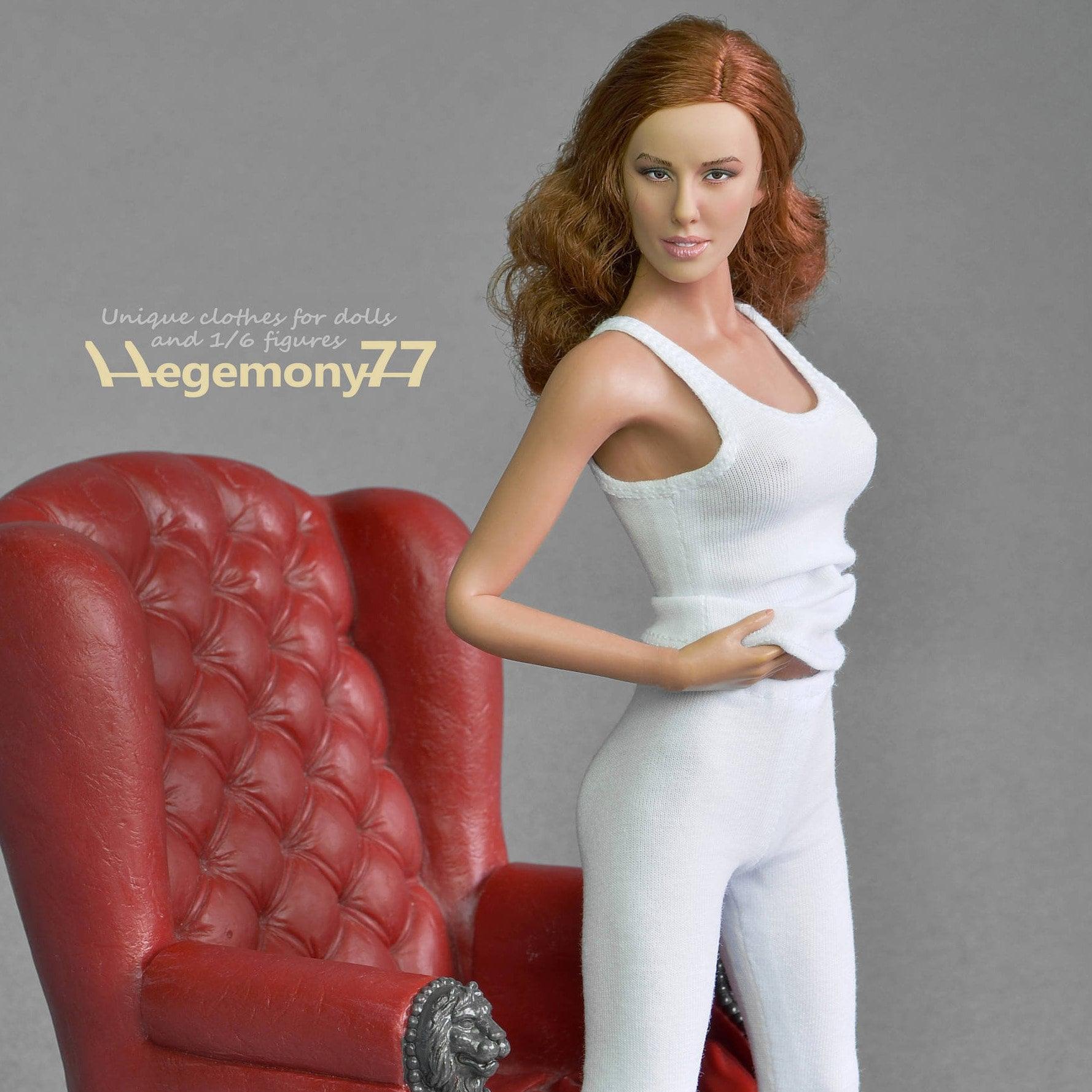 "1//6 Scale WHITE Female Tank Top for 12/"" FEMALE figure body"