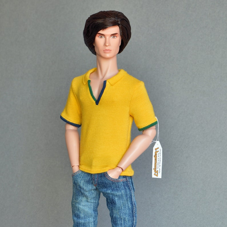 2ec398974a8 1 6 scale yellow polo shirt for 12 inch collectible poseable