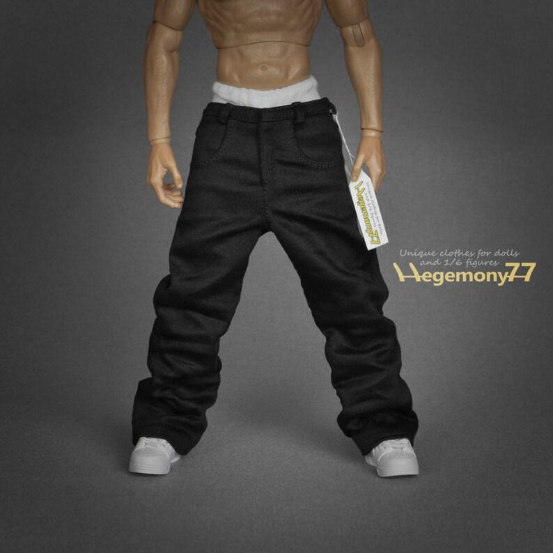 2d8fa745db 1 6 scale black baggy hip hop rapper jeans pants   trousers