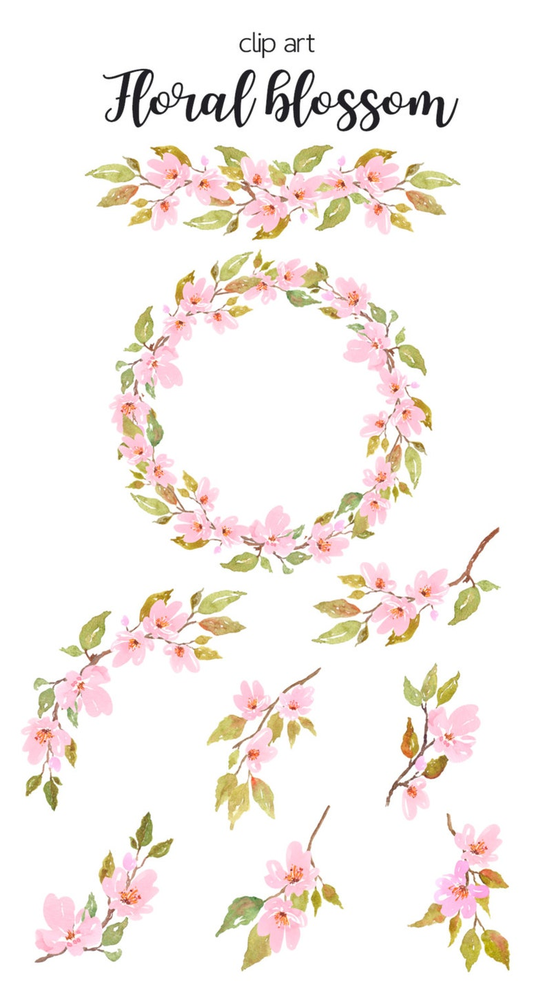 Watercolor Floral Clipart Cherry Blossom Watercolor Light Etsy