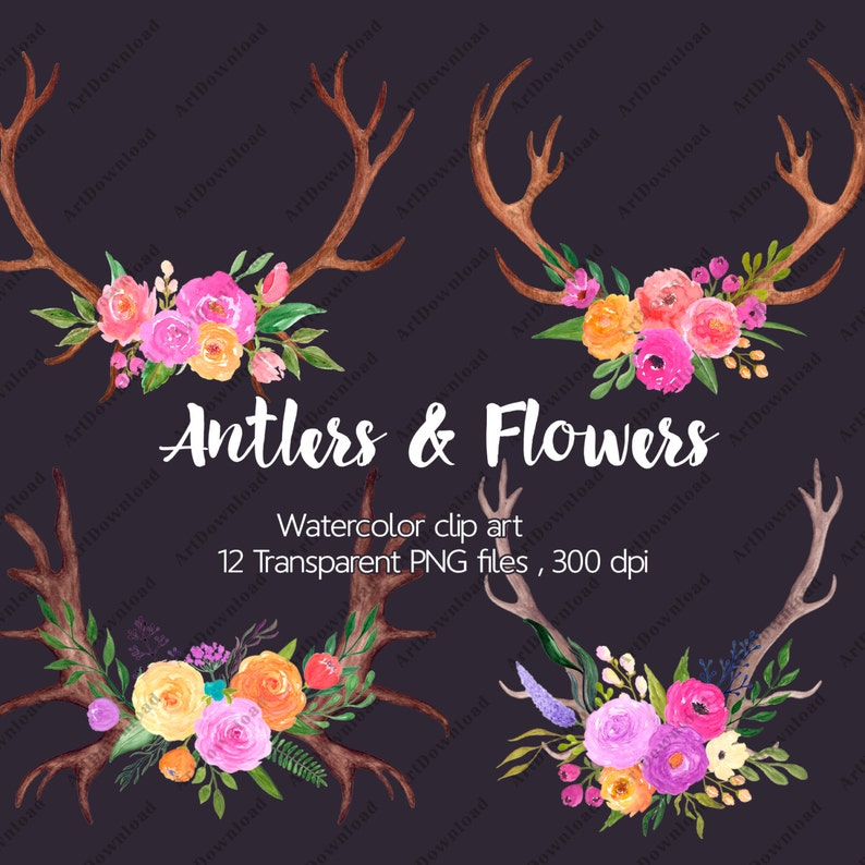Antlers and Flowers Watercolor floral antlers Clip art | Etsy