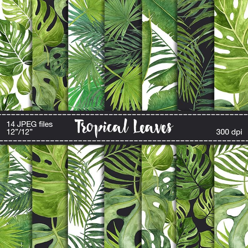 Digital Scrapbook Paper  Tropical leaves digital paper image 1