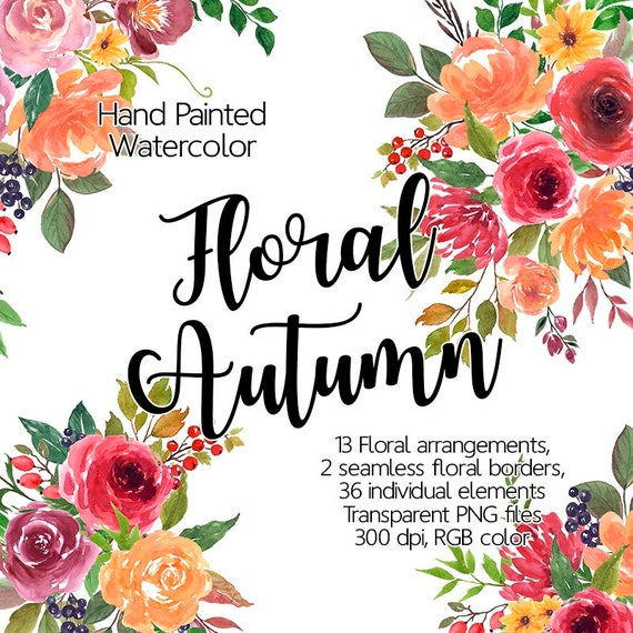Watercolor Flower Clipart Autumn Printable Flowers