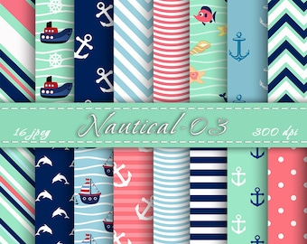 Nautical Scrapbooking Paper, Digital papers pack, Digital Backgrounds, Scrapbooking Paper, Printable paper, INSTANT DOWNLOAD