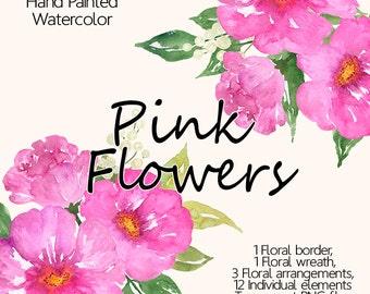 Watercolor flower clipart - Pink watercolor flowers, Floral wreath clipart, Watercolor bouquet clipart, Hand Painted Clip Art, Floral border