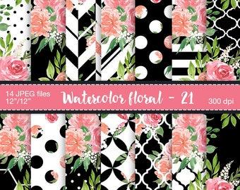 Floral Digital Paper - Watercolor florals, Digital art, Digital paper pack, Watercolor digital paper, Floral patterns, Paper watercolor
