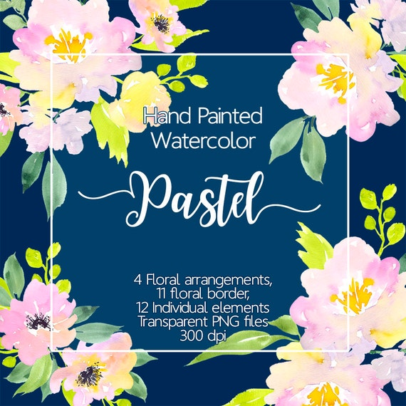 Floral Clipart Watercolor Flower Border