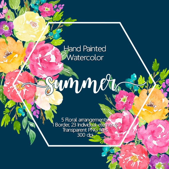 Watercolor Flower Clipart Watercolor flowers Floral | Etsy