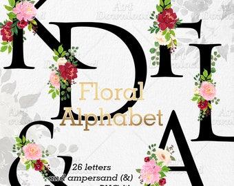 Clip Art Floral Alphabet, Wedding Monogram Letters, Floral Initials, Floral Alphabet Clipart, Floral Font, Logo Design, Clip Art Alphabet