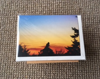 Sunset silhouette Vancouver lookout- original landscape photograph, Melbourne artist, A6 Gift Card, blank card with envelope