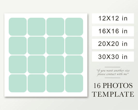 Square Photo Collage Template Round Corner Template 12x12 16x16 20x20 30x30 Round Corners Photo Template Collage On Canvas 16 Pictures