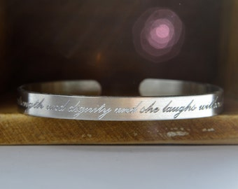 Engraved Personalized Cuff Bracelet   Custom Mantra Bracelet   Quote Bible Verse Love Note   Hidden Message   Silver Aluminum