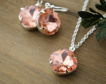 Cushion Crystal Earrings & Necklace Set | Sterling Silver Bridal Jewelry | Peach Wedding Colors