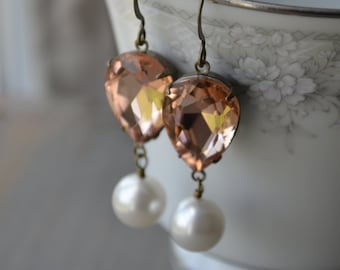 Peach Earrings - Pink Crystal Teardrops with Pearls | Peach and White | Bronze Drop Earrings - Dangle Earrings