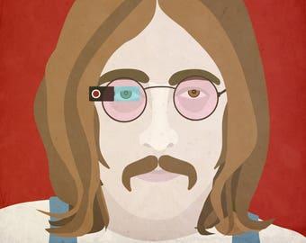 John Lennon Wearing Google Glass, Giclee Fine Art Paper Print