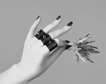 Star Dusters Black Gloss PVC Rings with Spikes