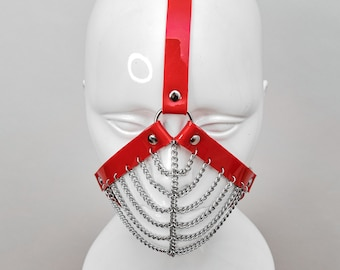 BITE Red Head Harness With Chain Muzzle