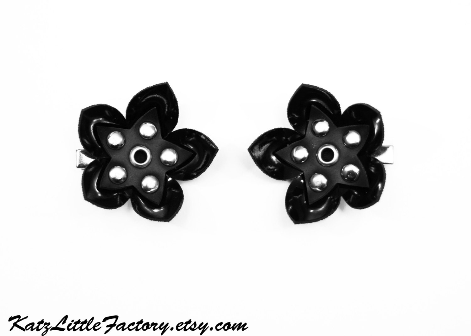 Pair Small Cyber Flower Hair Clips Shiny And Matt Black Pvc