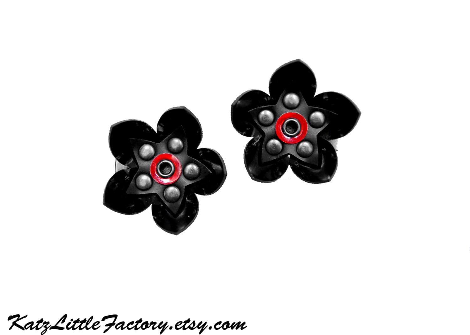 Pair Small Cyber Flower Hair Clips Black With Mirror Red Dot Pvc