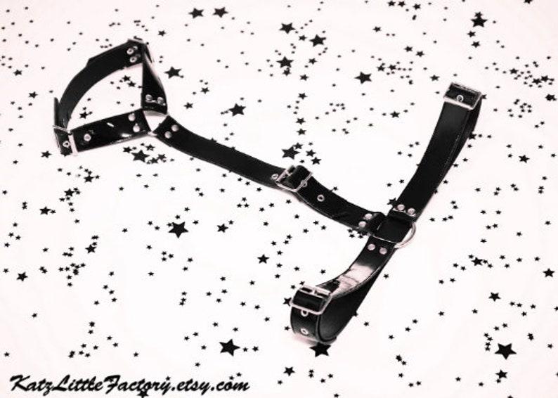 Shiny Black PVC Vinyl Halter Body Harness