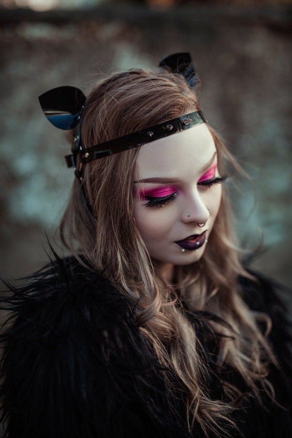 Ghoul Embellished Headband in Glossy Black PVC