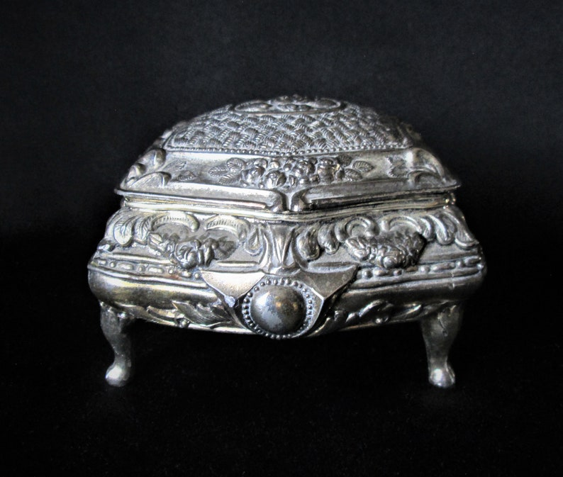 Velvet Lined Metal Footed Small Jewelry Trinket Box Vintage