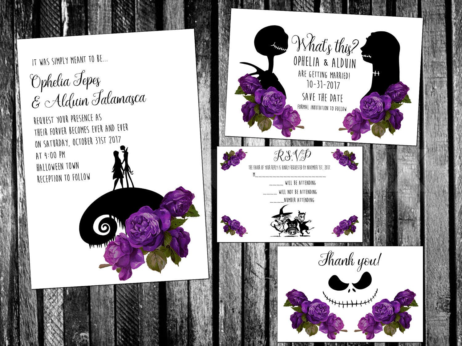 Roses The Nightmare Before Christmas Inspired Wedding | Etsy