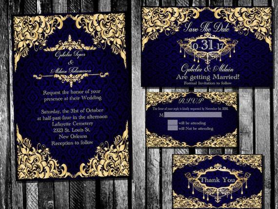Gold And Blue Wedding Invitations: Elegant Royal Blue And Gold Wedding Invitation Save The Date