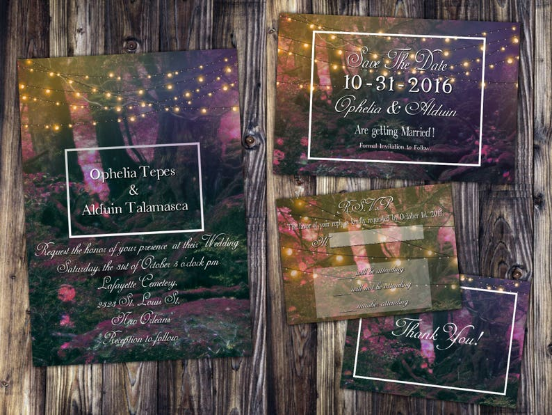 Enchanted Fairy Forest Themed Wedding Invitation Save the image 0