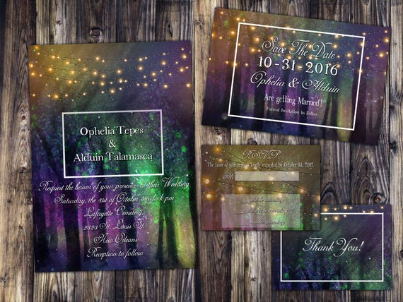 Enchanted Forest Themed Wedding Invitations: Rainbow Enchanted Fairy Forest Themed Wedding Invitation