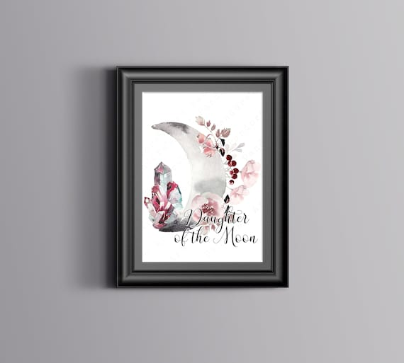 Daughter Of The Moon Witchy Art Print Printable Digital Etsy