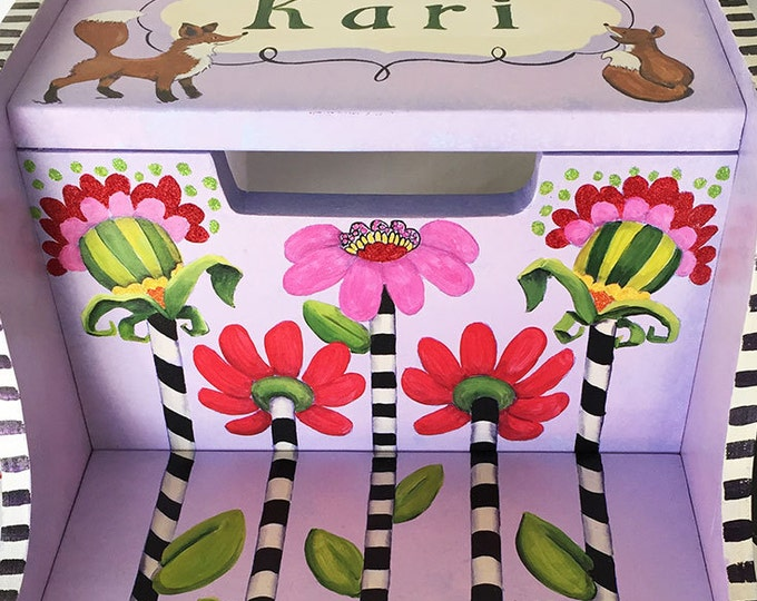 Personalized Step Stool - Fanciful Flowers