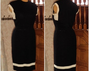 ST JOHNS Wiggle Santana Knit Dress by MaRIE GRaY 12 Cap Sleeve Color Block Black Cream Vintage 80's