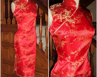 60's Silk Brocade Cheongsam Qipao Gown Sheath Dress S Mandarin Cowboy China Dress Side Slit Frog Closure New Old Stock Lovely Red Gold