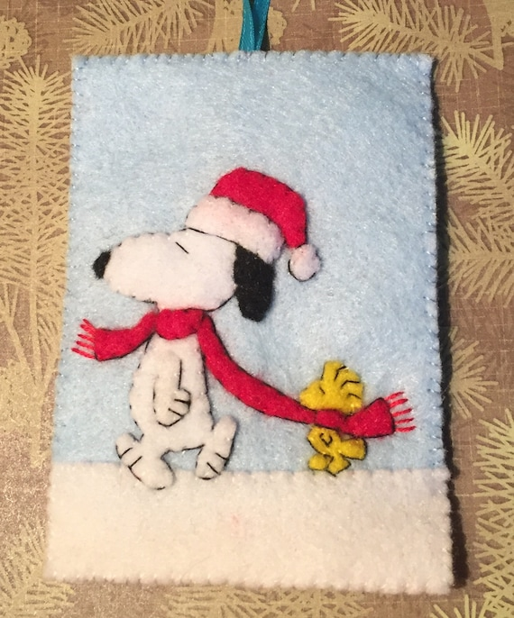 Snoopy And Woodstock Christmas.Peanuts Ornament Felt Christmas Snoopy Woodstock
