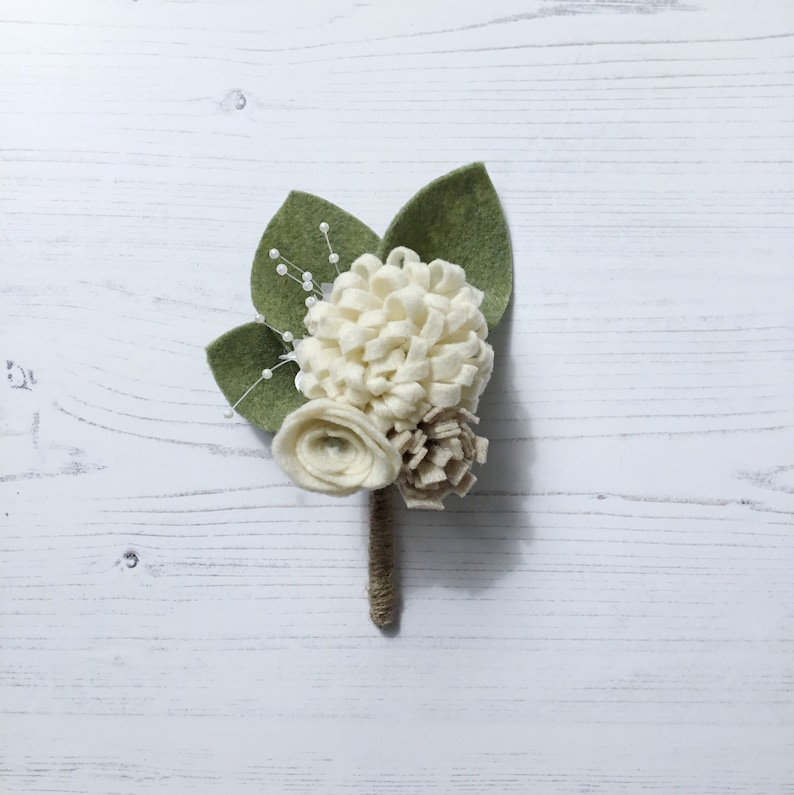 rustic wedding ivory and cream Felt flower bridal groom buttonhole corsage
