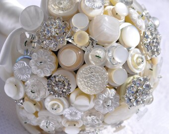Ivory Button Bouquet - Simply Chic Alternative Wedding Bridal Bouquet