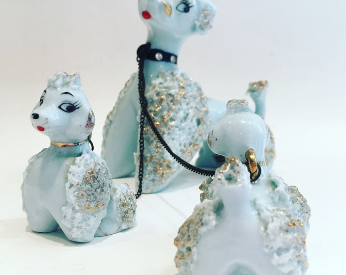Featured listing image: RARE Porcelain Poodle Set - Mama Pooch with Two Puppies - 1950s L&M Japan Porcelain Poodles with Rhinestone Collar and Leashes