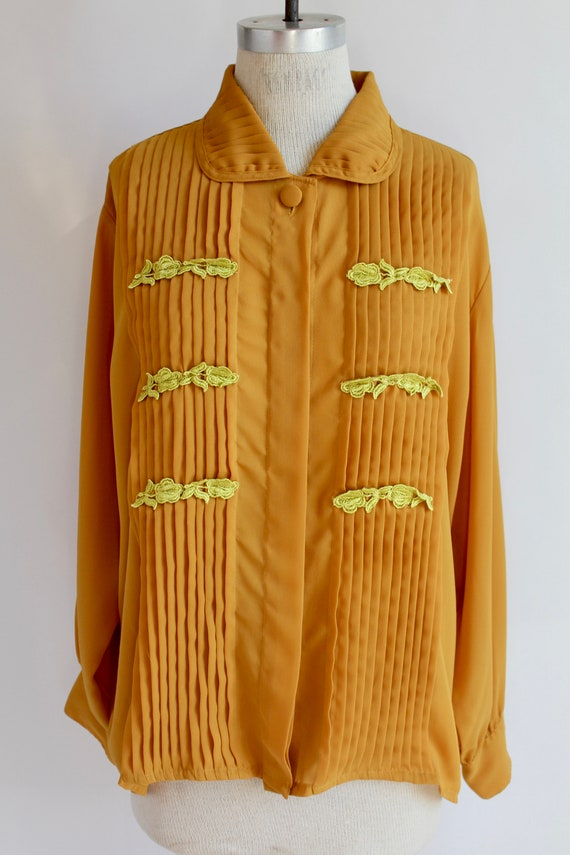 80's Blouse Orange with Yellow Embroidered Appliqu