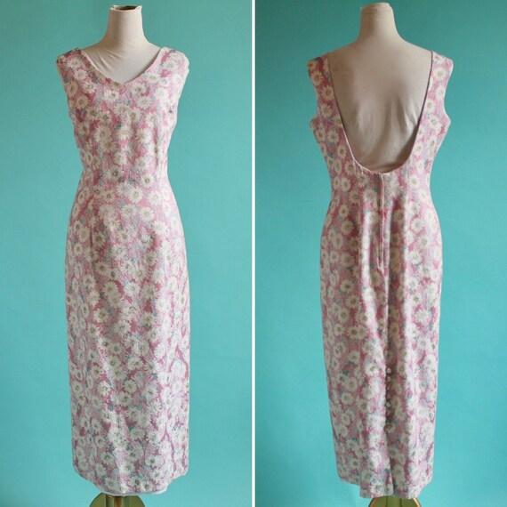 Sleeveless Brocade Scoop Back Summer Dress Pink wi