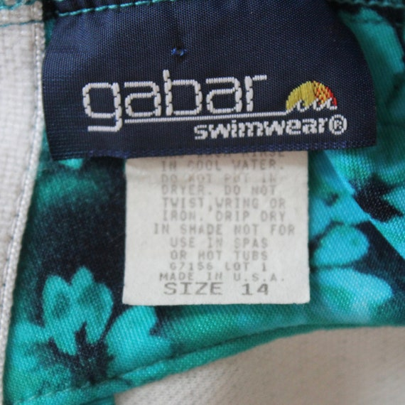 Teal Green Floral One Piece Bathing Suit with Ski… - image 5