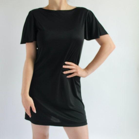 Black Mini Dress Small 1970's Sears - image 1