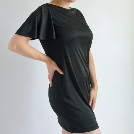 Black Mini Dress Small 1970's Sears - image 4