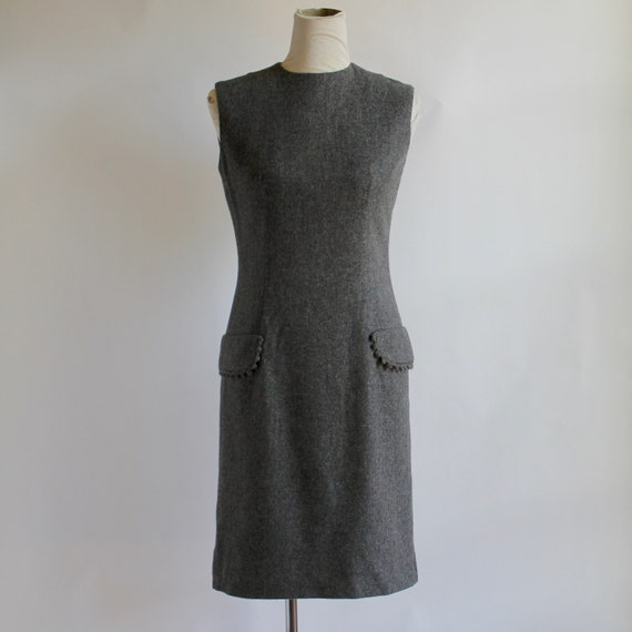 1960's Sleeveless Wool Dress Medium Anne Fogarty B