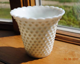 "Hobnail Milk Glass 5 1/2"" Jardiniere Indoor Planter"