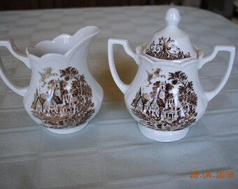 J. and G. Meakin England Royal Staffordshire Iron Stone Stratford Stage in Brown Pattern Creamer and Sugar with Lid Transferware