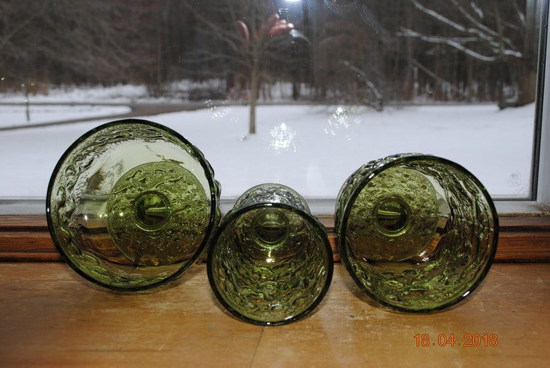 Anchor Hocking Milano  Lido Green Footed  2 Sherbet 9 3 On The Rocks and 4-Milano Green Juice Glasses