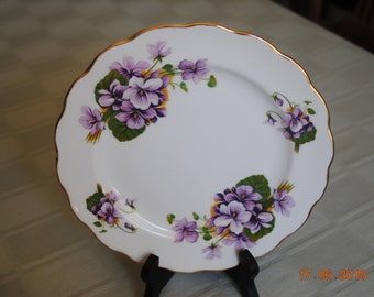 """Royal Kent Bone China Violet  8"""" Salad or Pie Plate  Made in Staffordshire England"""
